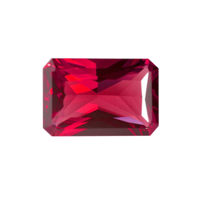 Synthetic Ruby - Corundum Rectangle (Chamfer) - red #5 (ESP)