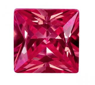 Synthetic Ruby - Corundum Square (Chamfer) - red #5 (SQP)